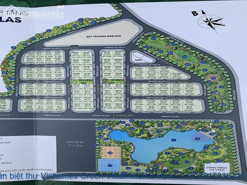 Bán biệt thự Vinhomes Green Villas 440m2 view hồ căn góc giá 75tỷ