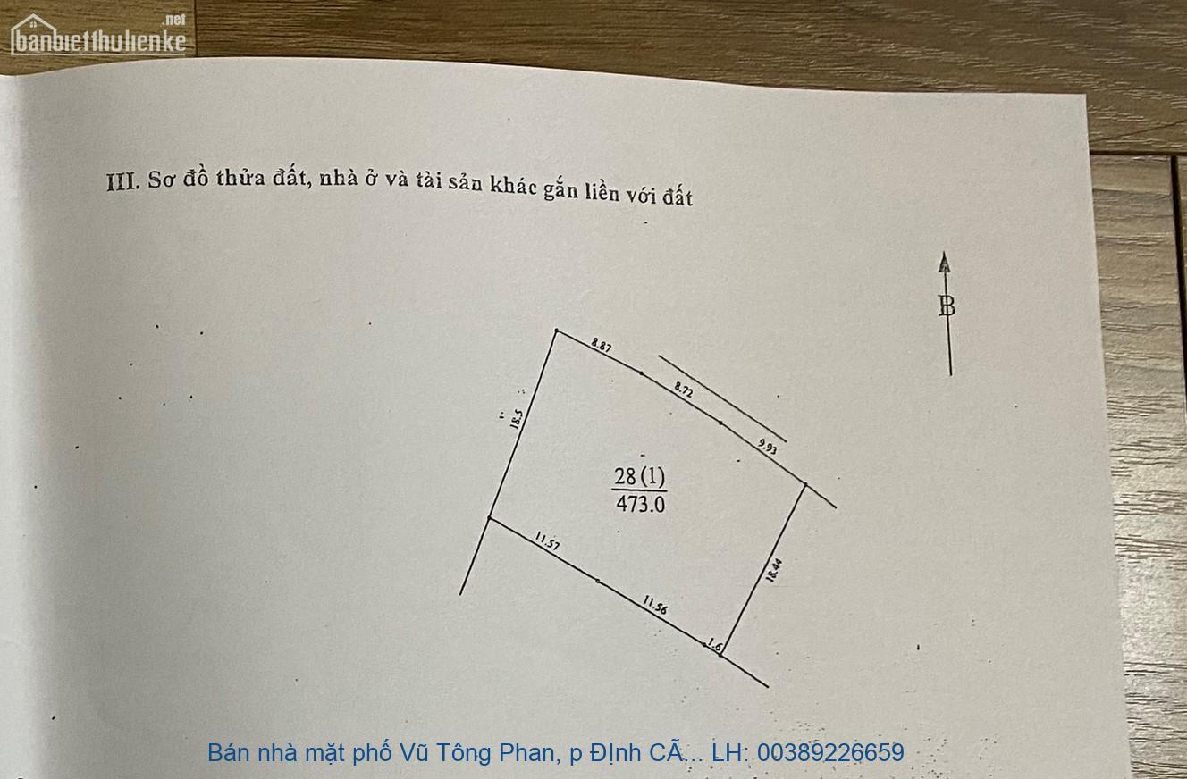 Bán nhà mặt phố Vũ Tông Phan, p ĐỊnh Công, Hoàng Mai 500m2 giá 42 tỷ